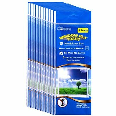 Garsum Fly Clear Window Traps Bug Killer Decal Non-Toxic, 4Traps(Pack Of 12)