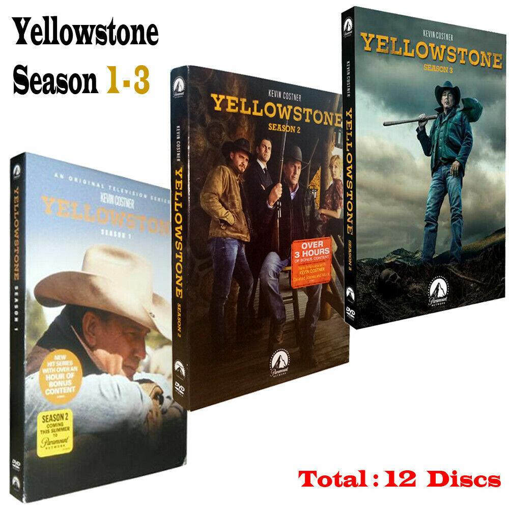 Yellowstone Season 1 & 2 & 3 1-3 (DVD ,12-Disc) NEW FREE SHIPPING US SELLR