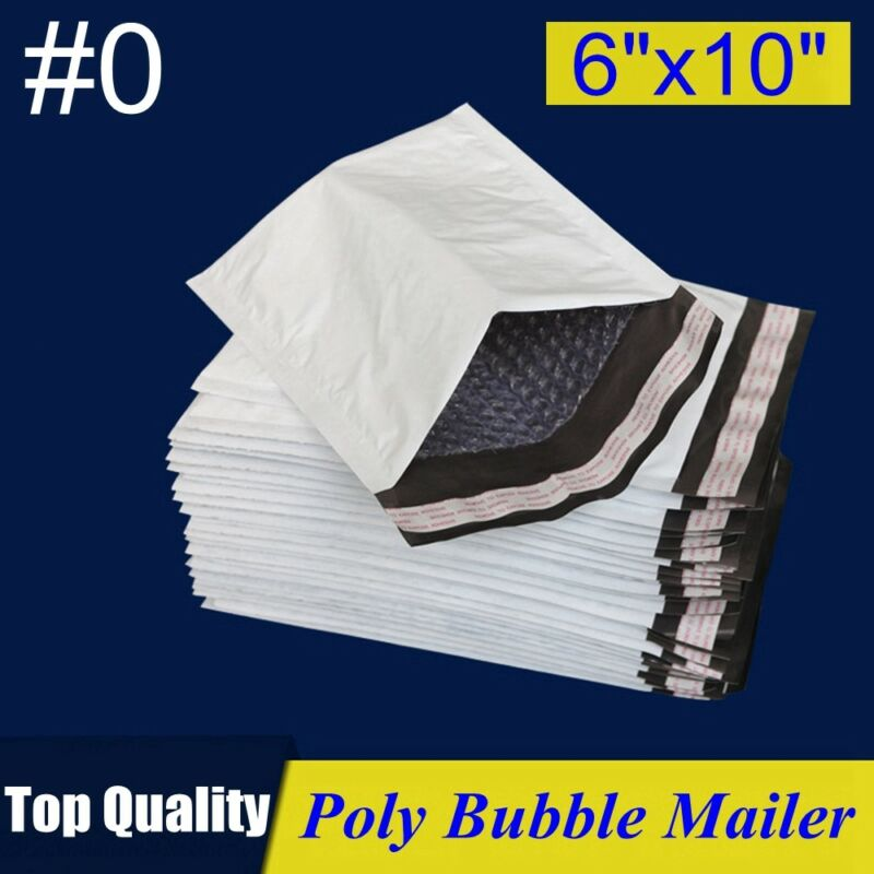"#0 6x10 Poly Bubble Mailer Padded Envelope Shipping Bag 6""x10"" 25,30,50,100,250P"