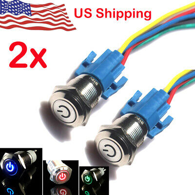 2x 16mm 12v Led Power Symbol On Off Car Push Button Switch Latch Metal Us Seller