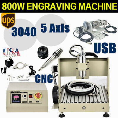 Cnc 3040 Five 5 Axis Router 800w Engraving Usb Cutting Engraver Milling Machine
