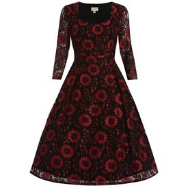 Lindy Bop Lisette Red Black Lace Vintage Style Party Dress size 12 brand new with tags