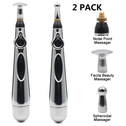 2PCS US Electric Acupuncture Magnet Therapy Heal Massage Pen Meridian Energy Pen Acupuncture
