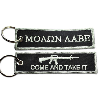 TACTICAL EMBROIDERED KEY CHAIN KEY TAG - MOLON LABE TAKE IT BLACK AND SILVER