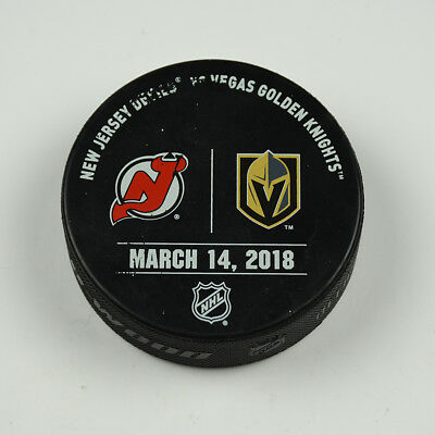 Vegas Golden Knights Warm Up Puck Used 3/14/18 VGK Vs New Jersey Devils Game