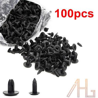 100pcs 6mm Plastic Push Rivets Car Door Fastener Trim Panel Retainer Clip Black