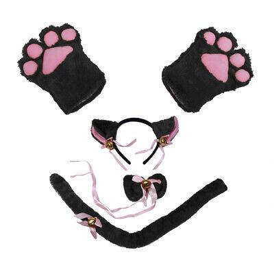 Katze Cosplay Kostüm Katze Schwanz Ohren Kragen Pfoten Handschuhe 5 Stück/ Satz
