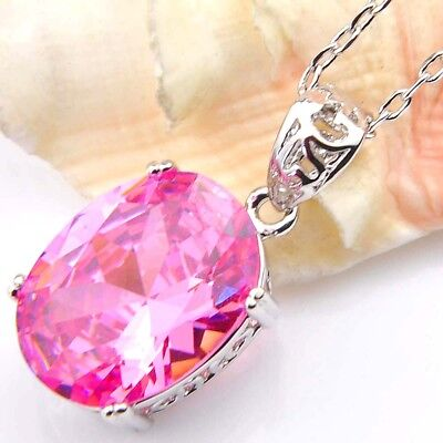Huge Valentine's Jewelry Gift Oval Sweet Pink Topaz Gems Silver Necklace Pendant
