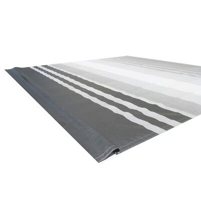 ALEKO Vinyl RV Awning Fabric Replacement 13X8 ft  Black Stripes (Black Awning)