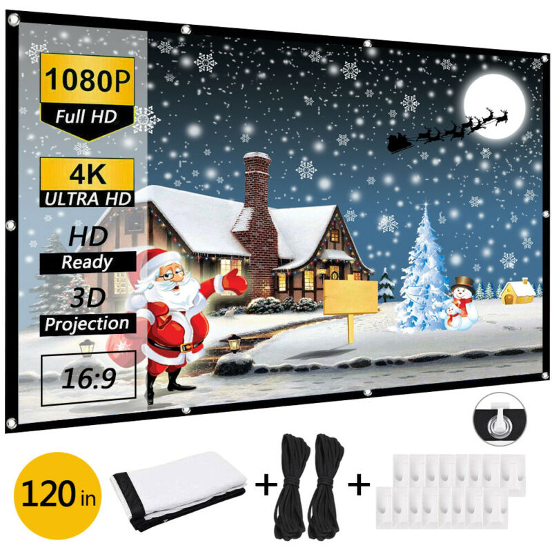 "120"" Extra Thick HD Projector Screen 16:9 Home 4K Movie Theater Opaque Foldable"