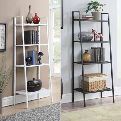 Wall Bookcase (4-Tier Durable Bookcase Bookshelf Leaning Wall Shelf Shelving Ladder)