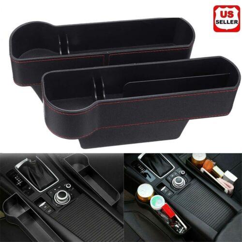 2 PCS Auto Car Seat Gap Catcher Organiser Storage Box Pocket w/ Cup Holder Side Car & Truck Parts