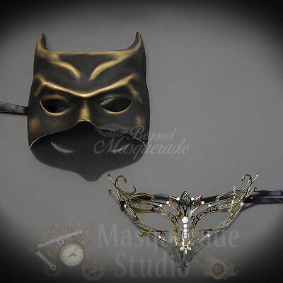 His & Her's Couple's Gold Batman and Majestic Costume Masquerade Masks Set