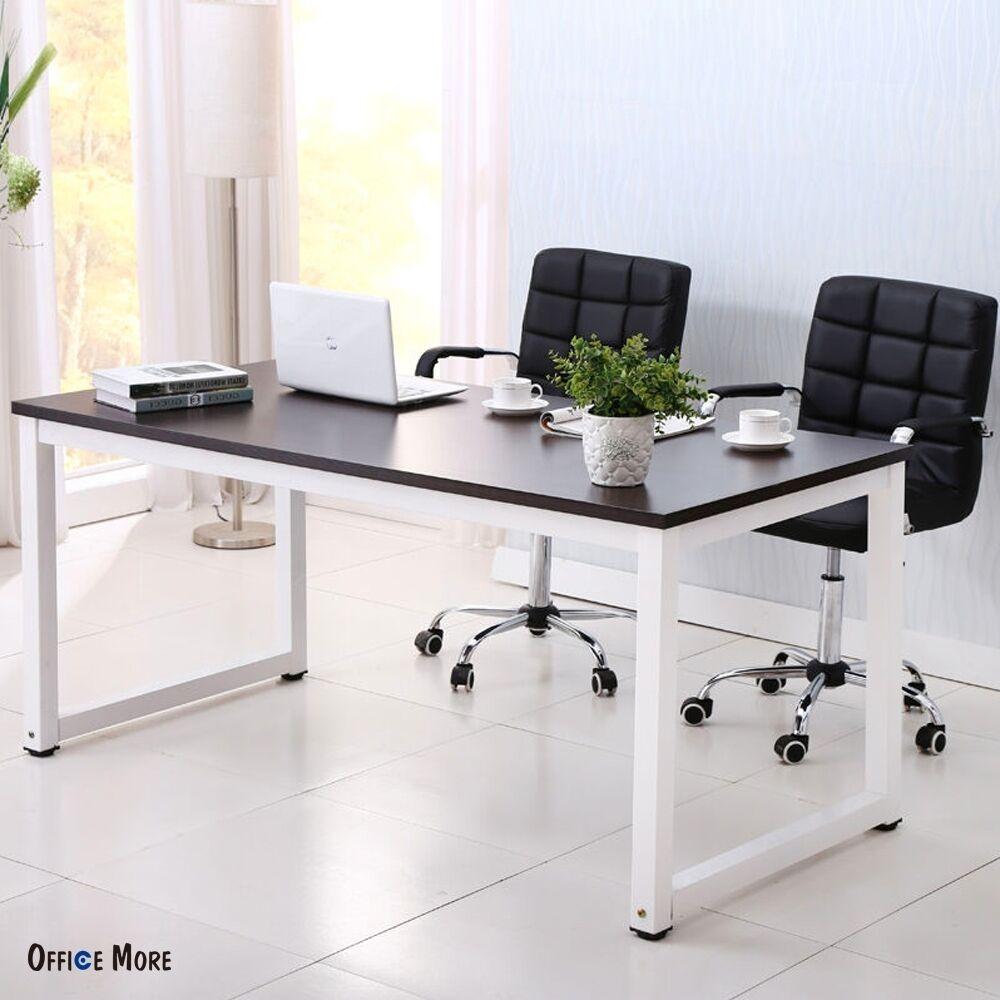 captivating home office desk furniture wood | Black Wood Computer Desk PC Laptop Table Workstation Study ...