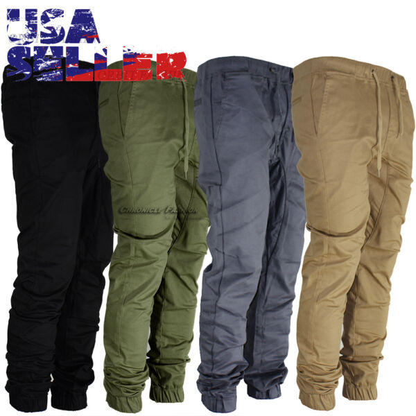 Mens Casual Pants Twill Joggers Hip Hop Elastic Jogger Slim Fit Stretch Trousers 1
