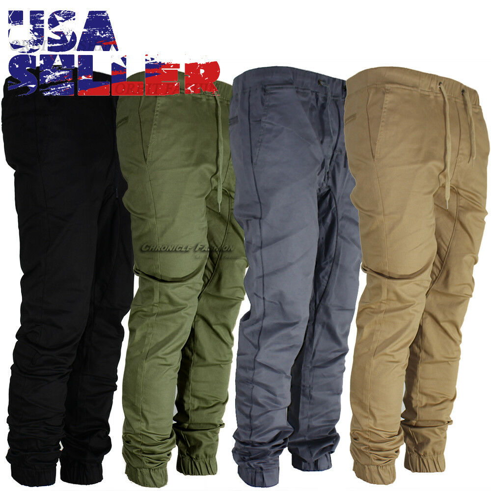 mens casual pants twill jogger hip hop