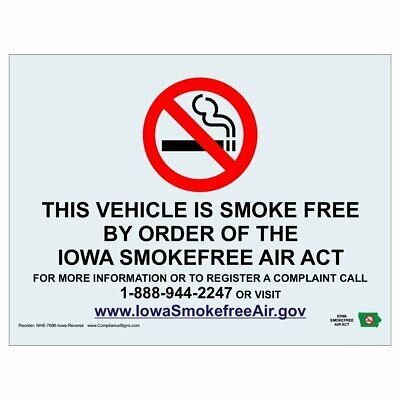 ComplianceSigns Clear Vinyl Iowa No Smoking Label, 7 x 5 in. with Front...