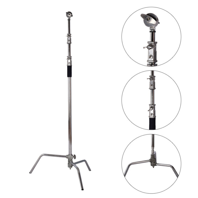 Stainless Steel Heavy Duty C Stand 5-10 Feet with 3 sturdy legs C-Light Stand
