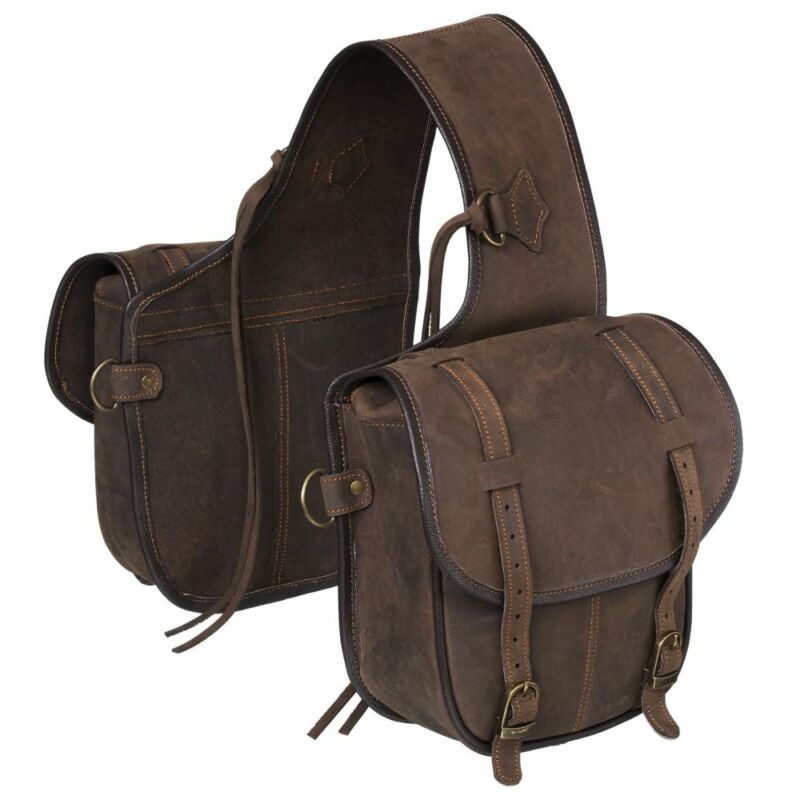 Tough 1 Soft Leather Adjustable Horn Bag W/ Dee Rings Two Pockets Brown U--7-0