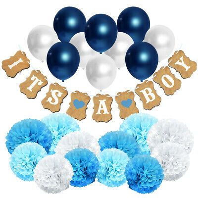 Hanging Decorations For Baby Shower (Set of 23 Party Decoration for Boy. IT'S A BOY Baby Shower Hanging Banner)