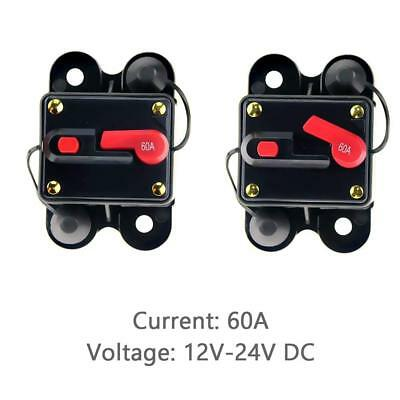 12V-24V DC Circuit Breaker Inline Fuse Inverter Waterproof Manual Reset 60 Amp