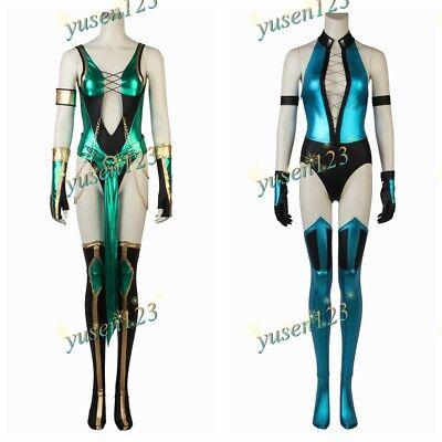 Mortal Kombat Jade Kitana Cosplay Halloween Women Fancy Dress Sexy Bodysuit