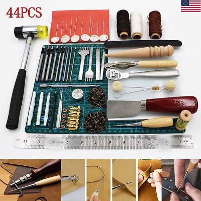44PCS Leather Craft Tools Hand Stitching Sewing Stamping Set Saddle Making Tools