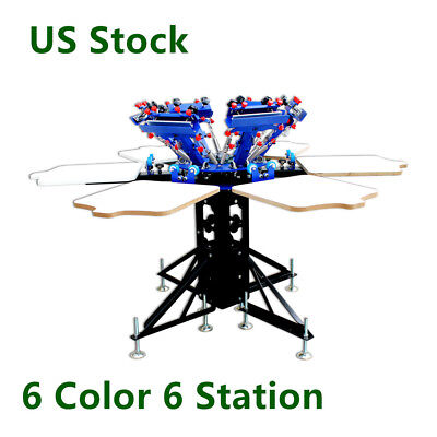 Us Stock 6 Color 6 Station Manual Screen Printing Machine T-shirt Print Machine
