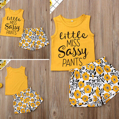 Toddler Baby Girl Summer Cotton Outfits Clothes Vest Tops+Shorts Pants 2PCS Set