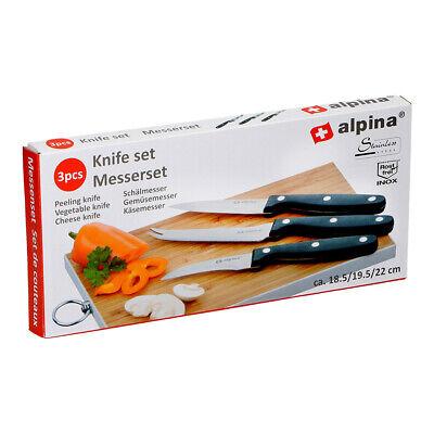 Set de 3 cuchillos ALPINA cuchillo mondador, verduras y queso cocina sana