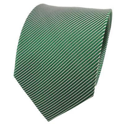TigerTie Seidenkrawatte grün smaragdgrün silber gestreift - Krawatte Seide Silk ()