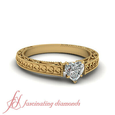 Solitaire Filigree Designer Diamond Ring With 0.90 Ct Heart Shaped In Center GIA