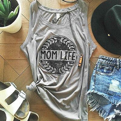 Women Summer SleeveLess Letter Tank Casual Street Style Loose O-Neck T-Shirt Top
