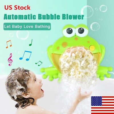 Bubble Machine Big Frog Automatic Bubble Maker Blower Music Bath Toys For Baby](Bubble Machine For Kids)