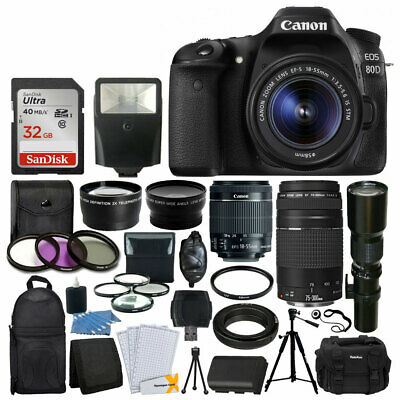 Canon 80D DSLR Camera 9 Lens 18-55 STM +75-300 +500MM +32GB Best Value (Best 500mm Lens For Canon)
