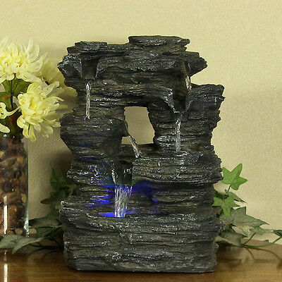 New Indoor Tabletop Rock Falls Electric LED Light Water Fountain Desk Home Decor