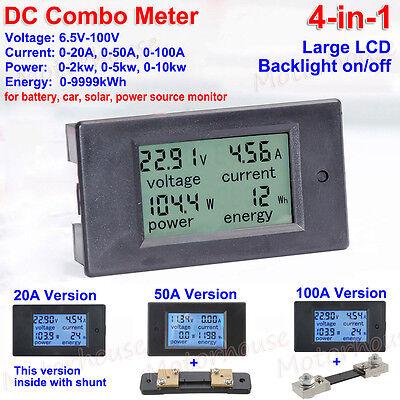 Battery Meter (LCD DC Combo Meter 12V 24V 48V 72V Voltage Current KWh Watt Car Battery Monitor)