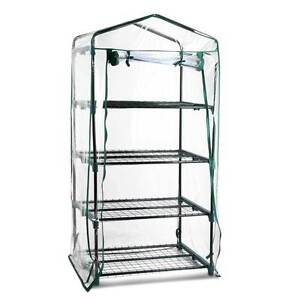 NEW FREE SHIPPING - 4 Shelf Greenhouse with Transparent PVC Cove Silverwater Auburn Area Preview