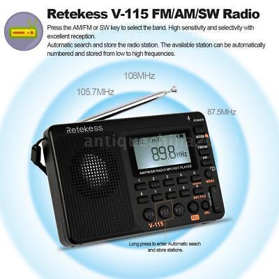 Retekess V-115 FM/AM/SW Mini Radio World Band Receiver REC MP3 Player+Battery