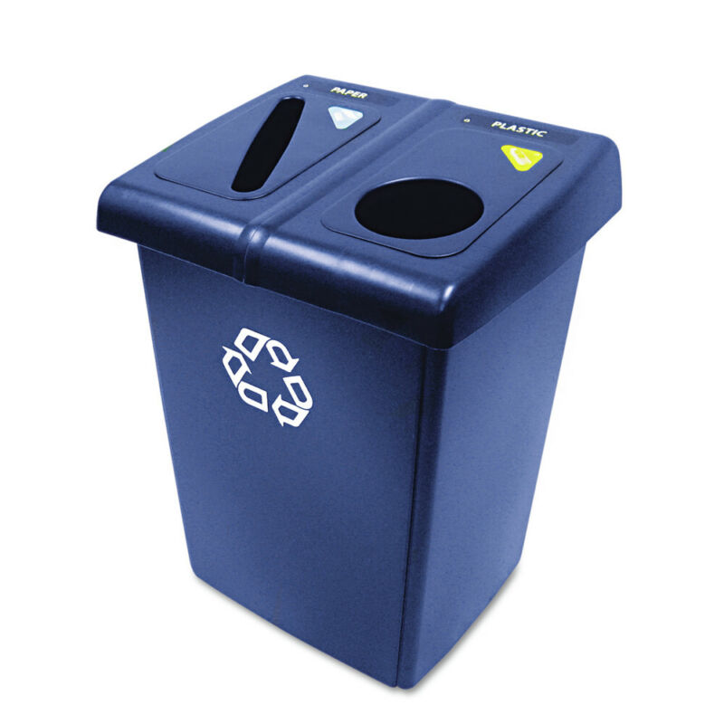 Rubbermaid Commercial 1792339 Glutton Recycling Station, 46 Gal. (Blue) New