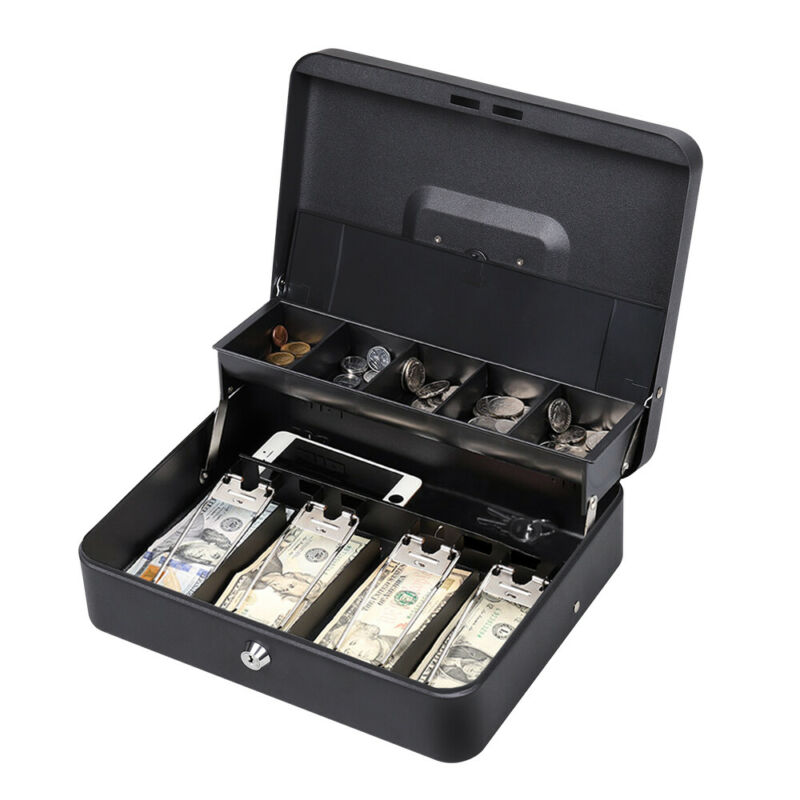 "11.8"" Cash Box with Money Tray lock Large Steel 5 Compartment Key Black Tiered"
