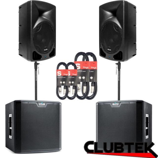Active ALTO SPEAKER SYSTEM 3060W 2x TX10 + 2x TS212S sub + Poles Bag Cables UK