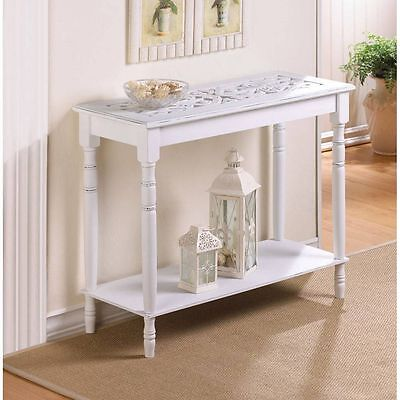 Distressed White Carved Wood - carved top distressed WHITE Shabby Wood Sofa console Entry Hall long Table shelf