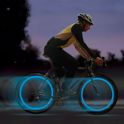 2 X Blue Bike Bicycle Cycling Wheel Spoke Wire Tyre Bright LED Flash Light Lamp