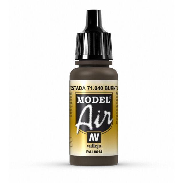 Vallejo Model Air: Burnt Umber - Acrylic Paint Bottle 17ml VAL71.040