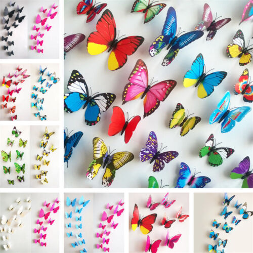 Home Decoration - 12PC DIY PVC 3D Butterfly Wall Decals Stickers Home Decor Room Vinyl Art Decals