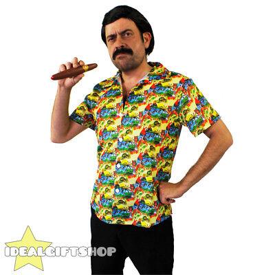 PABLO ESCOBAR COSTUME DRUG LORD FANCY DRESS YELLOW HAWAIIAN SHIRT WIG TASH CIGAR