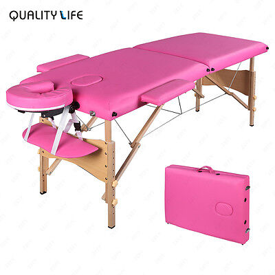 """84""""L Pink Fold Portable Massage Table Facial SPA Beauty Bed Tattoo Carry Case"""