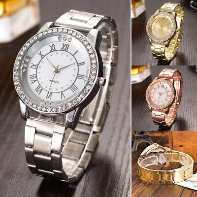 Luxus Damen Uhr Quarzuhr Armbanduhr Watch Uhren Edelstahl Strass Analog