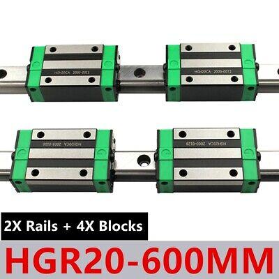Linear Guide Rail 2x Hgr20 600mm Linear Guideway 4x Hgh20ca Bearing Block